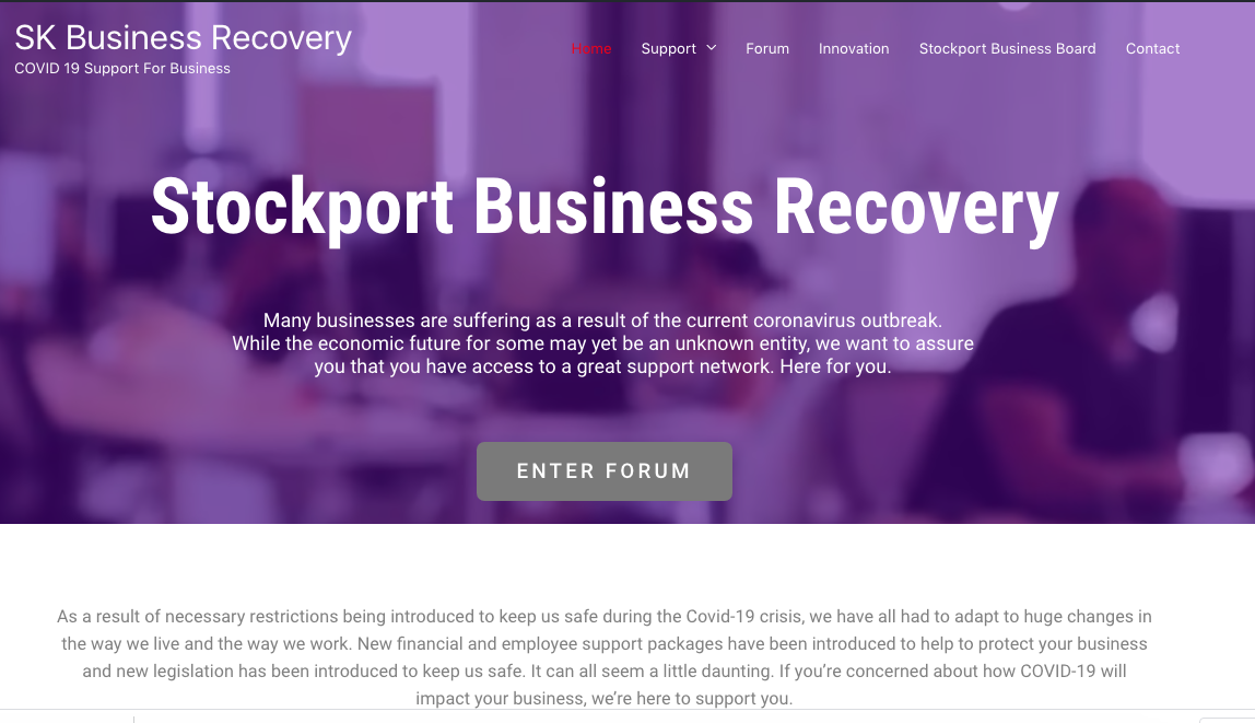 NEW COVID-19 BUSINESS RECOVERY WEBSITE – HELPING STOCKPORT GET BACK TO WORK